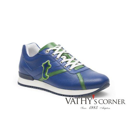 a.testoni sneaker perforált napa M70415 FDH kék